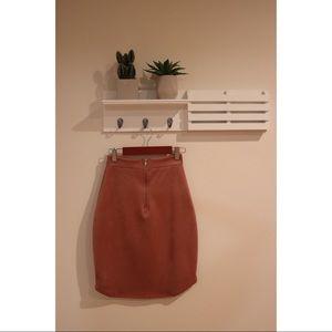Mauve Faux Suede Mini Skirt